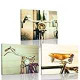 iKNOW FOTO 3 Piece Canvas Wall Art Old Antique Vintage Bicycle Poster Art Prints Modern Home Decor Stretched and Framed Ready to Hang for Living Room Walls Decoration 12x16inchx3pcs
