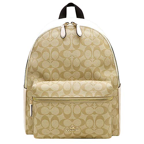 COACH Women's PVC Signature Charlie Backpack, Chalk, Small