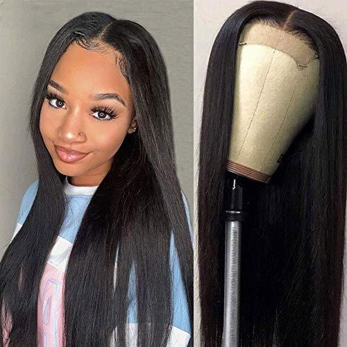 TOOCCI Parrucca donna capelli veri umani 4x4 Machine Made lace front wig parrucca nera liscia human hair wigs straight 14inch