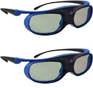 3D Glasses, Active Shutter 3D DLP Link Rechargeable 3D Eyewear for Acer ViewSonic BenQ Optoma Philips Panasonic Vivitek De...