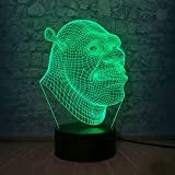 3D Lamp Shrek LED Table Night Light Illusion Atmosphere Luminaire with Remote Touch Sensor Light as Baby Sleeping Bedside Lamp Children Birthday Christmas Kids Toys