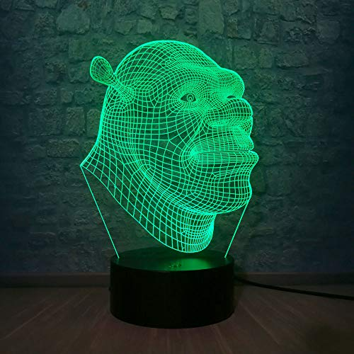 3D Lamp Shrek LED Table Night Light Illusion Atmosphere Luminaire with Remote Touch Sensor Light as Baby Sleeping Bedside Lamp Children Birthday Christmas Gift Kids Toys