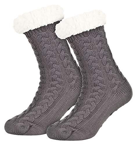 Tobeni 1 Paar Damen Hüttensocken ABS Socken Kuschelsocken mit Anti-Rutsch Noppen Sohle Farbe Grau Grösse One Size