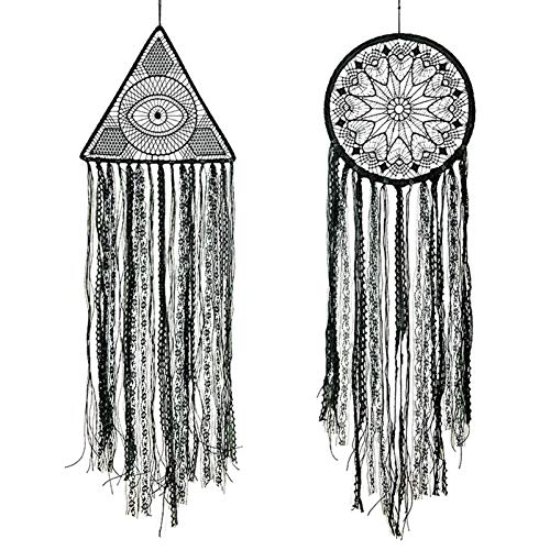 Rozwkeo 2 Pcs Large Black Dream Catchers for Bedroom Kids Handmade Crochet Lace Evil Eye Dream Catcher Wall Hanging for Wall Art Decor Boys Girls Christmas Home Gothic Wall Decorations Ornament Gift