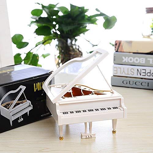 Top Grade Pure White Piano Shaped Music Box QPLNTCQ