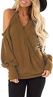 Tops for Women Long Sleeve, Ladies Casual Crew Neck Cold Shoulder Sweatshirts Solid Color Deep V-Neck Pullover