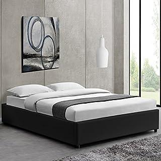Lit Design Noir avec sommier 140 x 190 cm - Nocta
