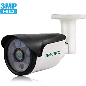 POE Camera, SV3C 3Megapixels POE IP Security Surveillance Camera Outdoor, IR Night Vision 65-100ft, H.265 Video Compression, IP66 Waterproof, Smart Motion Detection, Onvif Compatible(Series A)