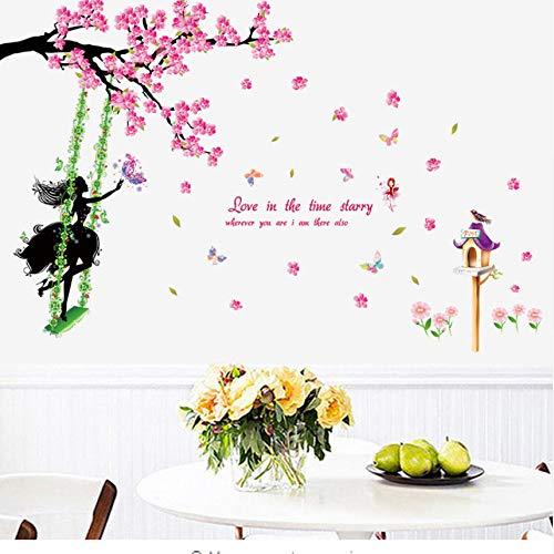Das Mädchen unter der Schaukel Wandaufkleber Steuern Dekor Wohnzimmer Schlafzimmer Hintergrund Pfirsichblüte Dekoration Aufkleber Wandbild 60x90cm