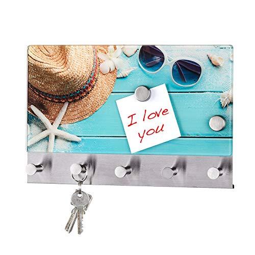 Quantio WENKO Schlüsselbrett Beach - gehärtetes Glas/Edelstahl, magnetisch, inkl. 2 Magneten und 5 Haken, 19 x 30 x 4 cm (HxBxT), magnetische Garderobe