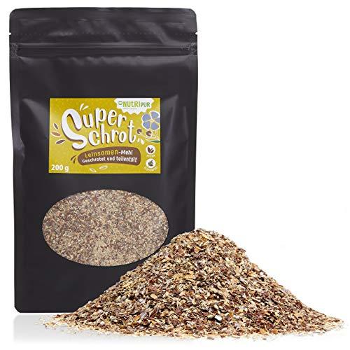 NutriPur Premium Leinsamen Mehl: 200g Leinsamen geschrotet und teilentölt in Rohkost Qualität – Naturreines, Glutenfreies Mehl aus Leinsamen – Grobes Mehl Low Carb – Leinen Mehl Vegan Glutenfrei
