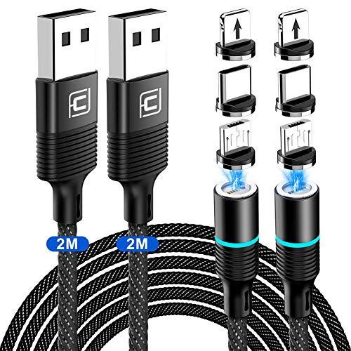 CAFELE 3 in 1 Ladekabel Magnetisch,[2M+2M] 3A Schnellladung Magnet Ladekabel Datenkabel,Nylon Magnegtisches USB Kabel für Micro USB/Typ C/1Phone/Huawei/Samsung Galaxy/Xiaomi/Honor/Sony/Kindle/LG