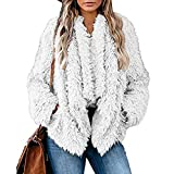 Kanzd Women Blouse Womens Fashion Loose Solid Color Long Sleeve Warm Plush Short Jacket White