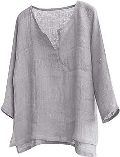 comprar comparacion JURTEE Camiseta para Hombre Algodón Lino Blusa Cuello En V Solid Color Pullover Manga LargaCamisa Casual Remera Tops