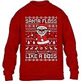 Shirtgeil Santa Floss Like a Boss - Ugly x-mas Regalo di Natale Maglione per Bambini e Ragazzi 12-14 Anni (152-164cm) Rosso