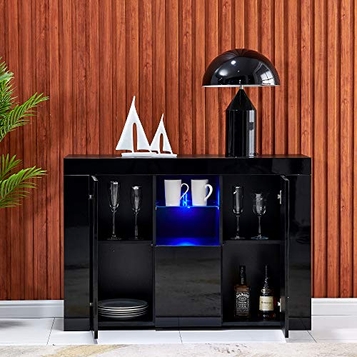 nozama High Gloss Sideboard Cabinet with 2 LED Display Cabinet Modern Storage Buffet Cabinet with 2 Doors 4 Cabinets Living Room Cupboard Cabinet with 16 Color Lights Strips (Black)
