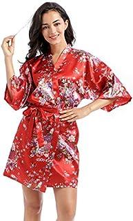 Jixin4you Daffodils/Peacocks Satin Kimono Robe Bathrobe Nightgown for Bride Bridesmaids Flower Girl Spa Party Wedding