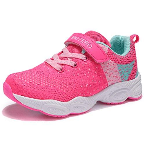 MAYZERO Unisex-Kinder Sneakers Laufen Schuhe Sportschuhe Sneakers Jungen M?dchen Low-Top Sneakers (29 EU, Rosa#1)