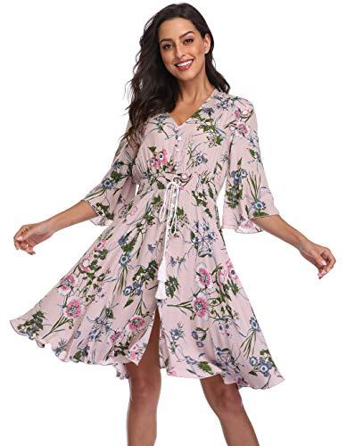BestWendding Summer Floral Flowy Party Dresses Women Casual Button Up Split Swing Boho Beach Midi Dress Light Pink