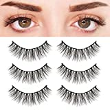 BEPHOLAN 3 Pairs Faux Mink Lashes Synthetic Fiber Material| 3D Mink Lashes| Natural Round Look| Soft & Lightweight| 100% Handmade &Cruelty-Free| XMZ27