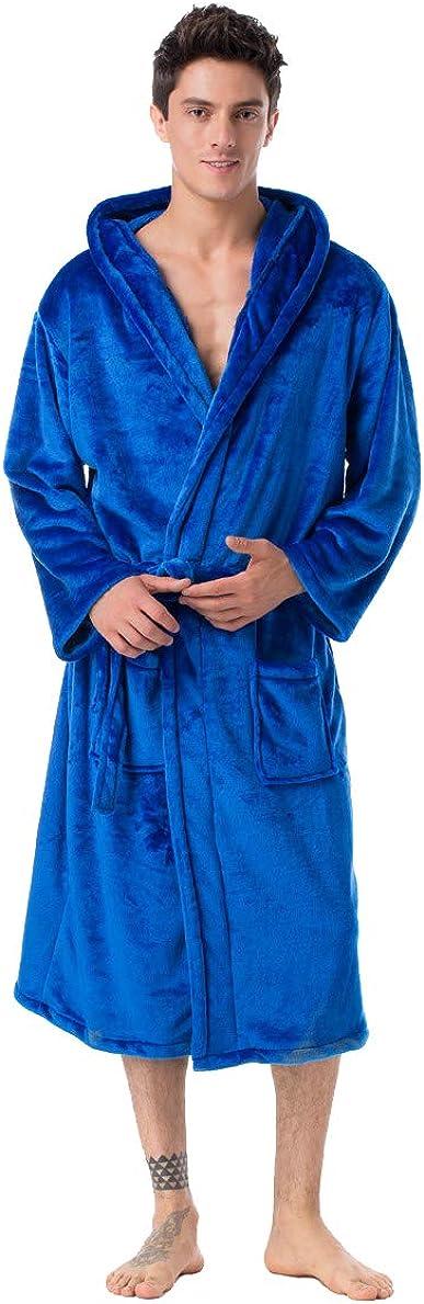 Honeystore Unisex Plush Warm Fleece Bathrobe Long Robes Housecoats Sleepwear