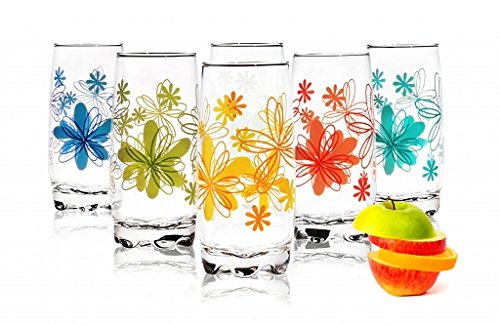 Sables & Reflets - Juego de 6vasos para agua, refresco o zumo, 350 ml, colección con diseño de flores