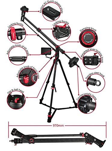 IFootage M1-III Mini Camera Crane Jib Arm For Video and DSLR Cameras, Up To 33 Lbs. Includes: Water Bag, Quick Release Plate, Low Profile Quick Release Adapter