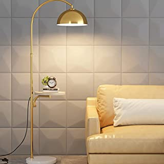 FMYZI Lampadaire Nordic Bedroom Lampe de Chevet Or Noir Avec Plateau Lampadaire Stable Base En Marbre Lampadaires Avec Amp...
