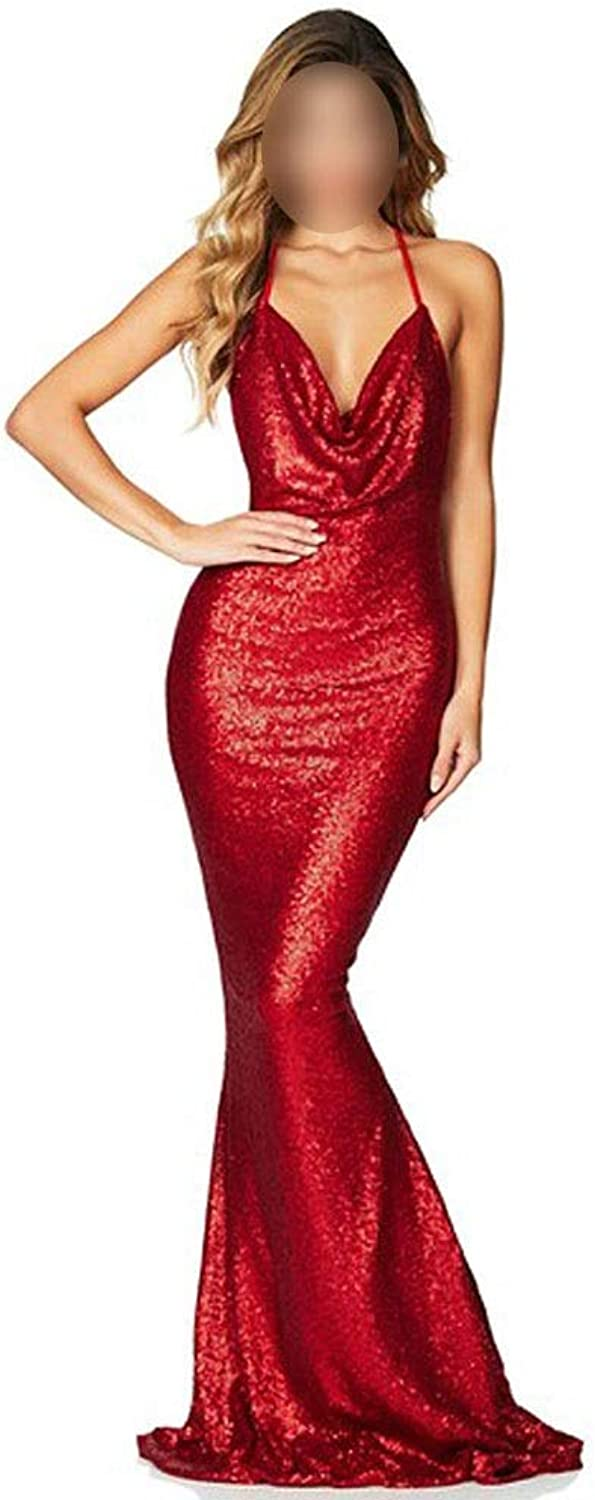 CEFULTY Women's Sexy Spaghetti Strap Sequin Backless Mermaid Dress Party Dress (color   Red, Size   L)