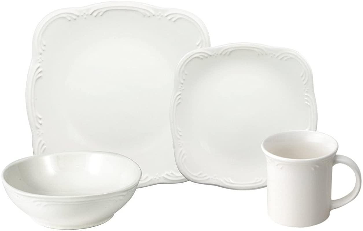 Pfaltzgraff Filigree Square Dinnerware Set 48 Piece White