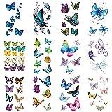 WYUEN 12 PCS/lot Butterfly Temporary Tattoo Sticker for Women Men Body Art Adults Waterproof Hand Fake Tatoo 9.8X6cm (FW12-03A)