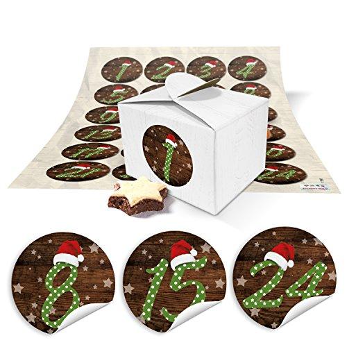 24 kleine doosjes miniboxen 8 x 6,5 x 5,5 om zelf adventskalender te knutselen en te vullen + ronde cijfers stickers rode mutsen vintage van 1 tot 24 als cadeau-idee voor Kerstmis
