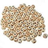100 Pieces Perles Bois Alphabet Lettres de L'Alphabet Carré Set Perles Alphabet Accessoires de Perles AlphabéTisation des Enfants pour Bracelet Colliers Bijoux et Bricolage Artisanat Lettre Perles