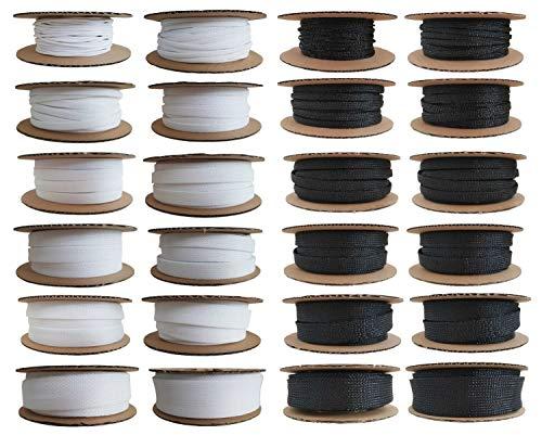 Geflechtschlauch von 2-4mm bis 25-50mm, Farbe:Weiss, Größe:20-40 mm - 5 Meter