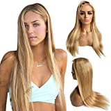 Human Hair Lace Part Wigs Ombre Brown to Golden Brown with Blonde Highlights Straight Remy Lace Front Wigs Pre Plucked Hairline Middle Part 13x1 Deep Part Lace Wigs for Black Women 22Inch150% Density
