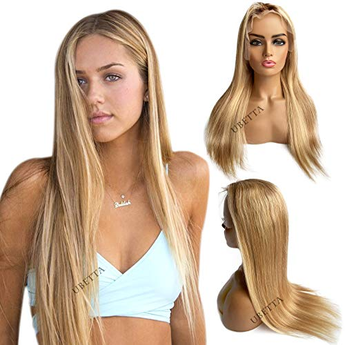 Straight Blonde Highlights Lace Front Human Hair Wigs Ombre Brown to Golden Brown Mixed Blonde Remy Human Hair Wig Pre Plucked for Women Middle Part 13x1 Deep Part Lace Wigs 150% Density 14Inch