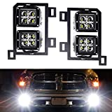 iJDMTOY Dual LED Pod Light Fog Lamp Kit Compatible With 2013-18 Dodge RAM 1500, Includes (4) 20W High Power CREE LED Cubes, Foglight Location Mounting Brackets & Wiring/Adapter Harnesses