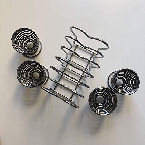 Jean-Patrique Spiral Chrome Egg Cups and Toast Holder Set
