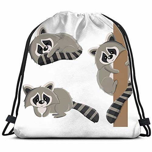 Set Raccoons Different Poses Sleeping Raccoon Animals Wildlife Animal Drawstring Backpack Gym Dance Bags For Girls Kids Bag Shoulder Travel Bags Birthday Gift For Daughter Children Women