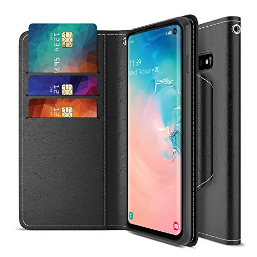 Maxboost Galaxy S10 Case mWallet Series Designed for Samsung Galaxy S10 [Stand Feature] [PowerShare Friendly] Galaxy S 10 Case Credit Card Wallet (Black) w/Card Slot Side Pocket Magnetic Closure