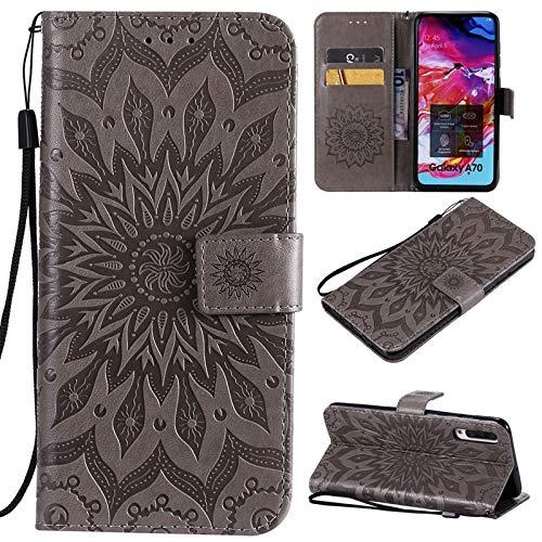JDDRcase - Custodia a portafoglio in pelle PU con supporto per carte di credito, motivo: girasole
