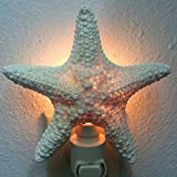 PEPPERLONELY Off White Jungle Starfish Night Light Night Light Nautical Natural Seashell Beach Home Décor