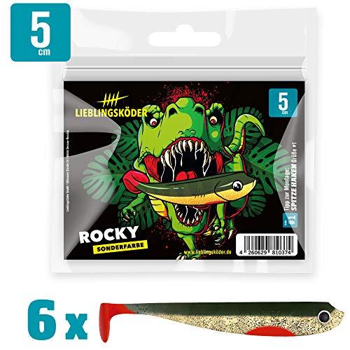 Lieblingsköder Gummiköder 5cm - 6 Gummifische zum Spinnangeln auf Barsche & Forellen, Barschköder zum Spinnfischen, Gummishads, Farbe Lieblingsköder:Rocky