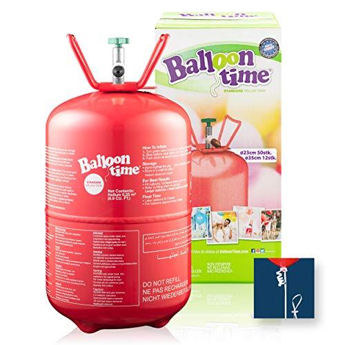 feiermeier 250GO - Helium mit Ballonverschlussbändern Ballongas to Go Flasche mit 0,25 m³ / 250 Liter + inklussive 30x Ballonband für max. 30 Ballons - für Hochzeit Liebe Kindergeburtstag