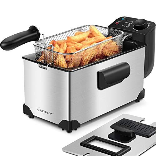 Aigostar Ushas 30HEZ - Semi-professionelle Fritteuse, Edelstahl, 2200 Watt, 3 Liter. BPA-frei