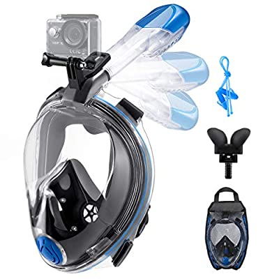 OMORC Diving Mask, 180°Panoramic View Foldable Full Face Snorkel Mask with Advanced Safety Breathing System,Detachable Camera Mount, Anti-Fog & Anti-Leak
