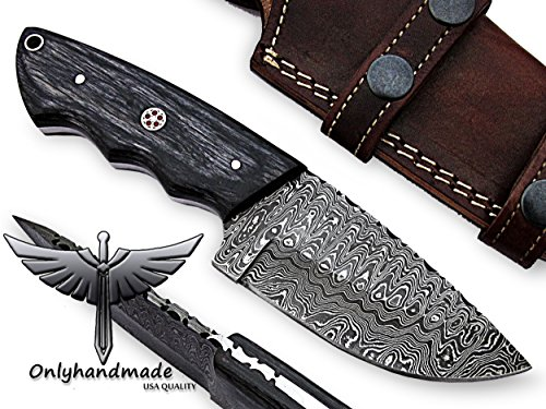 """onlyhandmade 7.75"""" Beautiful Damascus Knife Made of Remarkable Damascus Steel and Exotic Wood -Its A Hunting Knife with Sheath OHM-058"""