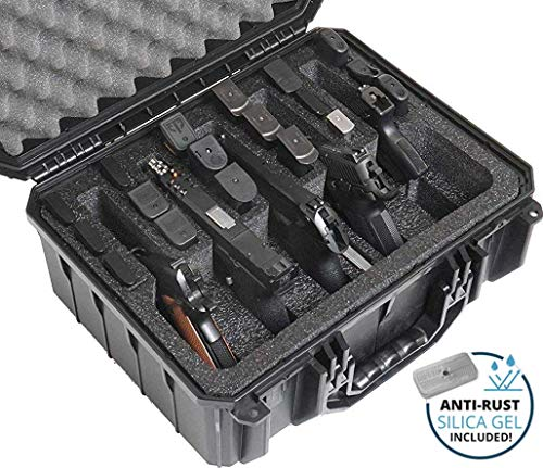 Visit the Case Club Waterproof 5 Pistol and 18 Magazine Case with Silica Gel to Help Prevent Gun Rust on Amazon.