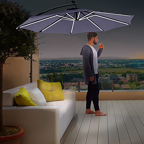 Divine Style Cantilever Parasol Premium Garden Parasol Umbrella with 16 Solar Powered Neon Strip LED Lights for Outdoor...
