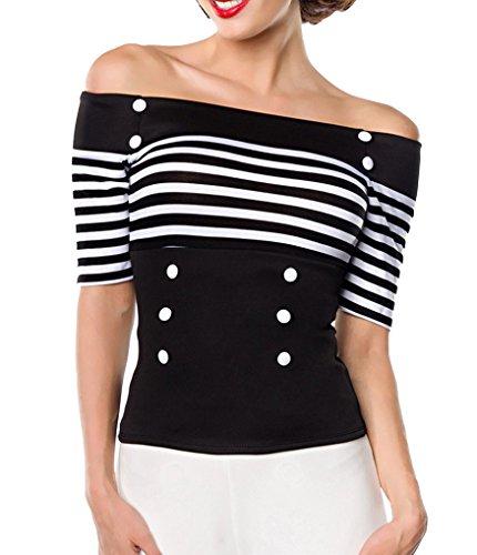 Schwarze schulterfreie Bluse aus Jersey mit kurzen Ärmeln und Carmenausschnitt weiß gestreift Retro-Top mit Knöpfen S